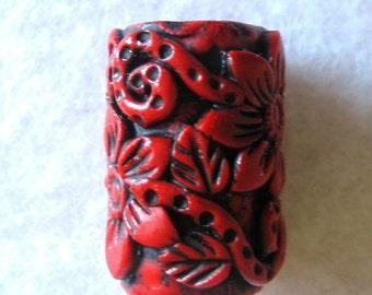 Dreadlocks  Bead Red Flowers You Choose Hole Size