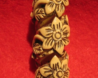 Dreadlocks  Bead Faux Bone Flower Coil   You Choose Hole Size