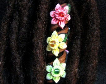 Dreadlocks  Bead Multi Colored Flower Coil You Choose Hole Size