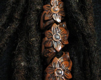 Dread Bead Wood Look  Flower Coil You Choose Hole Size
