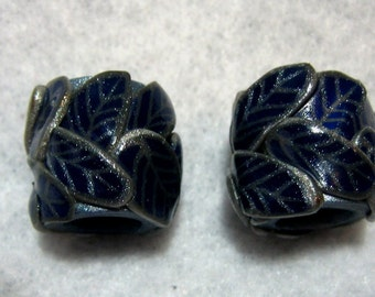 Dread Beads Midnight Blue and Silver Set of 2   You Choose Hole Size