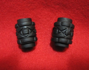 Dread Beads Black Barrel  You Choose Hole Size Set of 2