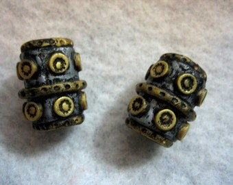 Dread Beads Faux Heavy Metal  Dreadlock  Beads  Set of 2  You Choose Hole Size