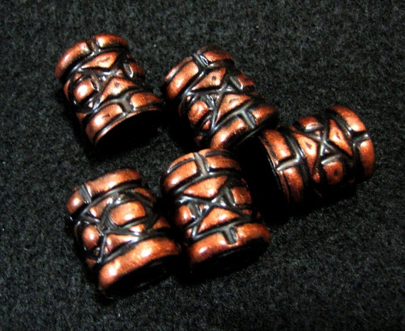 Dread Beads Copper Nuts and Bolts set of 5  You Choose Hole Size