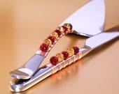 CHOOSE YOUR COLORS - Custom Made Wedding Cake Server And Knife Hand Beaded By Beadz2Pleaz