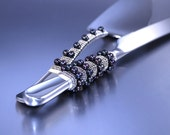 COUTURE Wedding Black Pearl Cake Knife And Server Set, Beaded 24 Crt White Gold Plated Beads, Black Fresh Water Pearl Cake Cutter Set