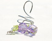 Beaded Wine Bottle Topper And Decoration In Lilac And Green RUSTIC And ABSTRACT Beauty For The Wine Lover