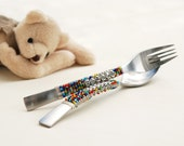 PERSONALIZED Kids Spoon And Fork Set, Hand Beaded, CUSTOM COLORS, Stainless Childs Flatware, Toddler Cutlery Gift Idea