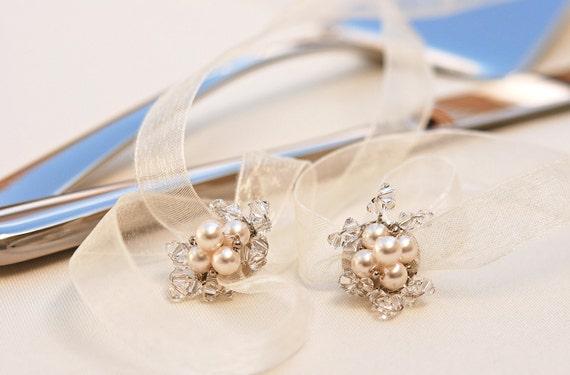 Wedding Cake Knife And Server Set REMOVABLE Flower DECORATION Swarovski Crystal And Pearl Keepsake Beadz2Pleaz ORIGINAL Design On Etsy