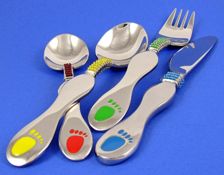 Imported childrens funky ooak flatware eating set beaded in - Funky flatware sets ...