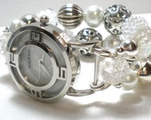 Pearl... Interchangeable Watch Band... white, pearl, silver, clear