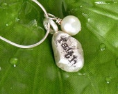 Silver Pebble and Pearl Sentiment Necklace