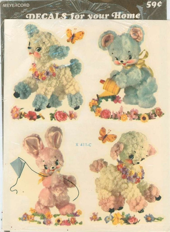 Vintage Meyercord Nursery Decals Lamb Teddy Bear Bunny
