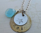 I Love the Beach - Personalized Name Necklace - Mixed Metal Custom Hand Stamped Necklace - S43