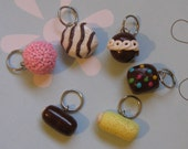 6 piece Childhood Snack Cake Stitch Markers, Charms