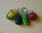 Happy Veggies Stitch Markers or Charms, For Knitting Projects or Jewelry