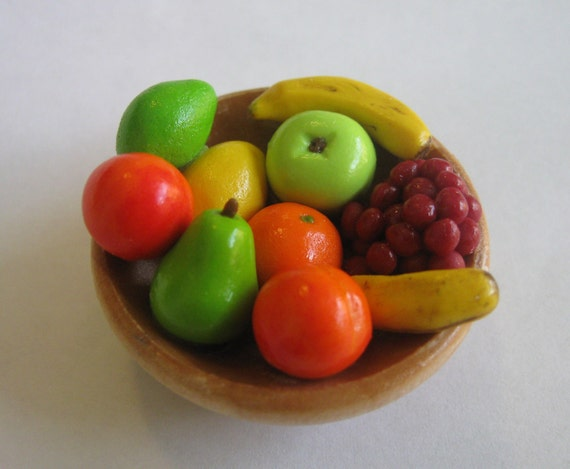 SALE Handsculpted Miniature Bowl Of Fruit, Mixed Fruit, Ready To Ship