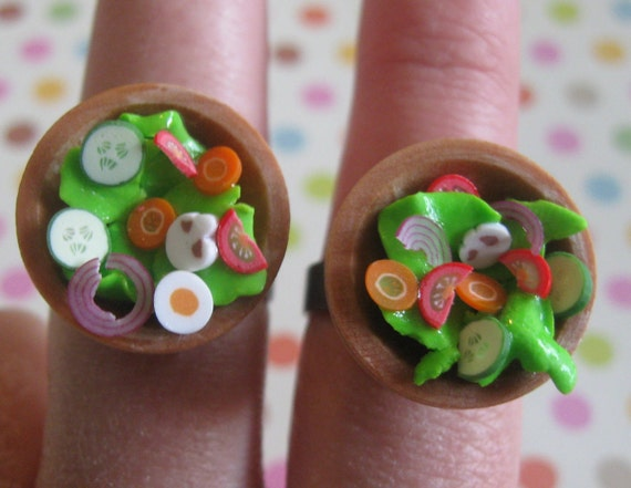 Best friends Rings, Wooden Bowl With Salad, Nickel Free, Ready To Ship