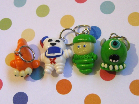 Set of 4 Geeky TV Charms/stitch markers/Pendants, Fish, Stay Puft, Glo Worm, Mike