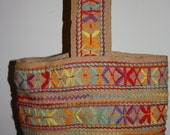 Vintage burlap tote/bag with yarn embellishment
