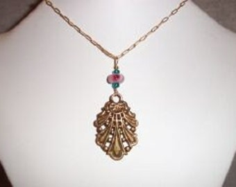 Ornate Brass and Glass Lamp Work Pendant and Vintage Brass Chain Necklace