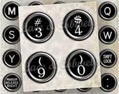 Black Antique Typewriter Keys, Bottlecap Inchies, Digital Collage Sheet no. 30
