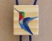 HUMMINGBIRD BOLO TIE No. 2 - Original hand painted art work