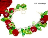 Red Aventurine, Cats Eye and Glass Beads Bracelet by Kala Pohl