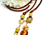 Brown Leather Cord Lariat with Yellow, Gold, Lime Green Glass Beads by Kala Pohl
