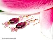 Purple Quartz and Swarovski Crystal Earrings by Kala Pohl