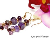 Purple Amethyst and Swarovski Crystals Earrings by Kala Pohl