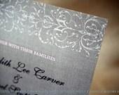 Pink Grey Lace Ornate Flourish Romantic Wedding Invitations