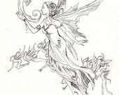 Faery Entourage - Original Ink Drawing - by Stephanie Pui-Mun Law