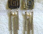 Long Gold Aztek Earrings