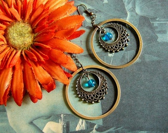 Neo Victorian Blue and Gold Earrings