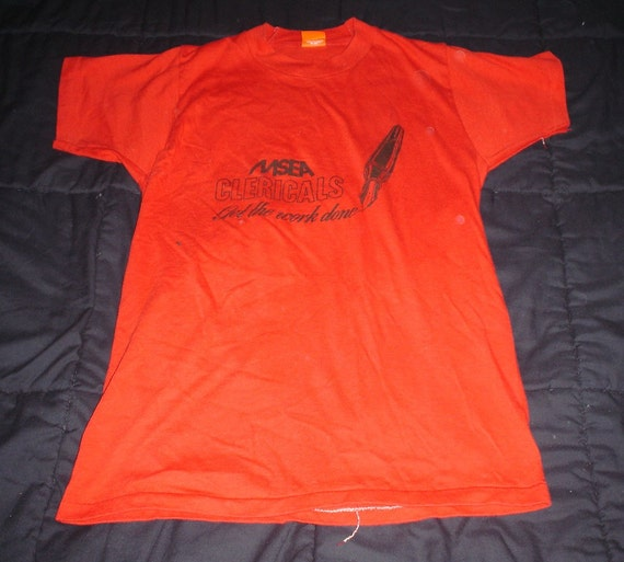 Vintage 1980s MSEA Clericals t-shirt red Super Screen Stars orange tag 50/50 large