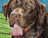 Chocolate Labrador Retriever mosaic montage art print, limited edition