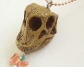 SALE Dinosaur Necklace -- Dinosaur Skull Necklace -- Brachiosaurus Necklace