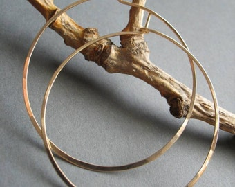 Large Round Hoop Earrings - 14k Gold Fill - Handmade Hammered Classic Hoop Earrings