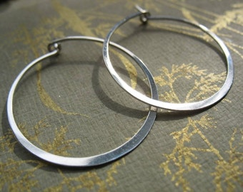 Small Round Hoop Earrings - Sterling Silver - Handmade Hammered Classic Hoop Earrings