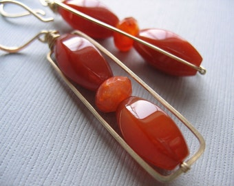 Carnelian and Agate Rectangle Earrings - Handmade Framed Red Gemstone Earring, Wire-Wrapped, 14K Gold Fill