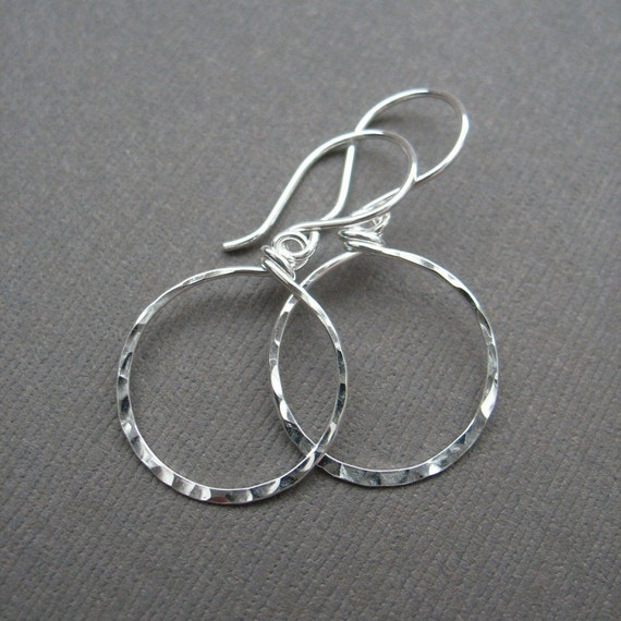 Pure and Simple - Hammered Round Earrings in Sterling Silver