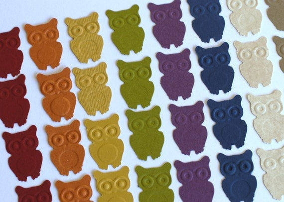 CLEARANCE 2015 Blowout Inventory Reduction - 100 Hand Punched - Cardstock Owl Punches - Over 1 Inch Each - Can Be Made ANY Color