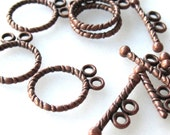 50% Off Toggle Clasp, 5 sets Antique Copper 2 Strand Toggle Clasps CL0046