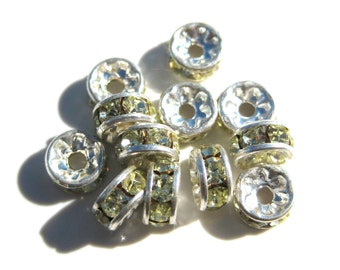 30% Off 9 Very Light Green Rhinestone Silver Plated Spacer 5x3mm Rondells