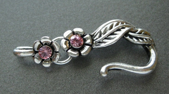 Hook and Eye Clasp, 1 Hook and eye Clasp Silver Plated Pewter Pink Swarovski Crystal Leaf CL 092