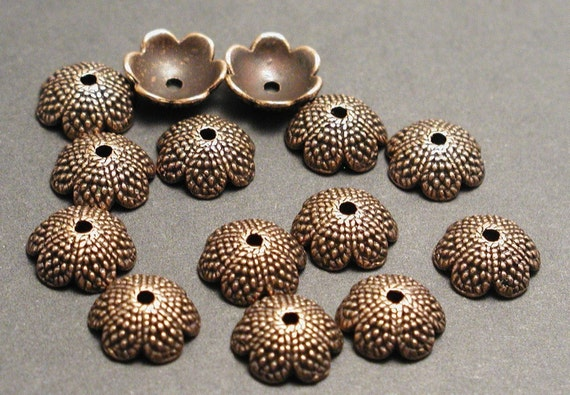 10 Bead Caps Antique Copper Acorn Tops Fit 10mm 12mm 14mm Beads 13x4mm