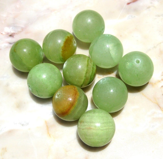 10 Green Onyx 12mm Round Stone Beads(L010)