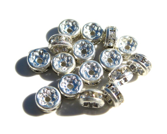 10 Clear Rhinestone Silver Plated Spacer 5x2mm Rondells MB 216