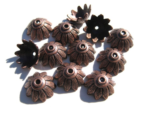 12 Bead caps Antique Copper 7x14mm - Kumihimo Supplies BC 024